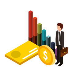 businessman with statistic graphic and icons vector image