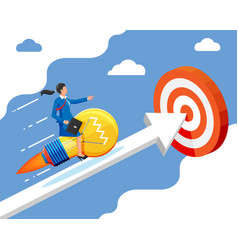 businesswoman on flying rocket light bulb on chart vector image