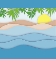 calm sea view in summer 3d layered paper cut vector image