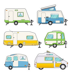 camping trailers set vector image