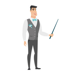 caucasian groom holding pointer stick vector image