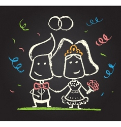 chalked happy engaged couple vector image