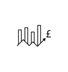 chart up arrow pound icon element of finance vector image