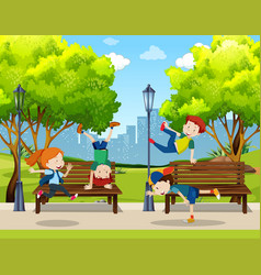 children practice street dance at park vector image
