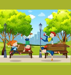 Children practice street dance at park vector