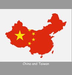 China and taiwan map flag vector