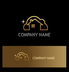 Clean house gold logo vector
