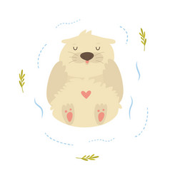 cute funny otter floating in a river vector image