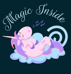 cute unicorn isolated set magic pegasus flying vector image