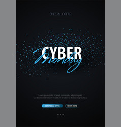 cyber monday sale calligraphic banner vector image