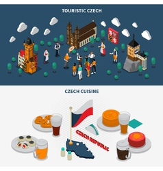 Czech Republic 2 Touristic Isometric Banners vector