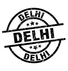 delhi black round grunge stamp vector image