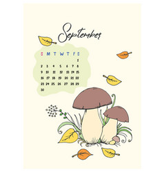 doodle mushrooms for the month of september 2018 vector image