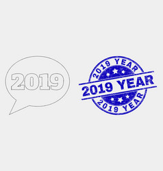 dot 2019 message balloon icon and distress vector image