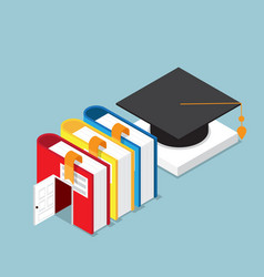 education concept books is door to success of vector image