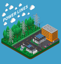 electricity power isometric composition vector image