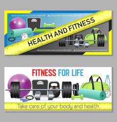 Fitness horizontal banner set vector