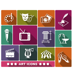 Flat art icons with shadow vector
