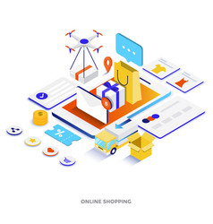 Flat color modern isometric - online shopping vector