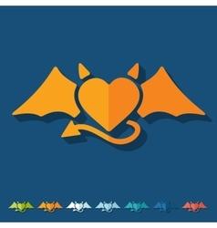 Flat design heart devil vector