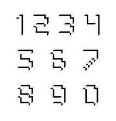Font numbers cubic 3d with shadows vector