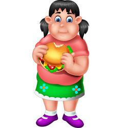 funny fat girl eating burger cartoon vector image
