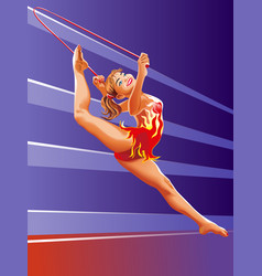 girl gymnast with red jumping-rope vector image