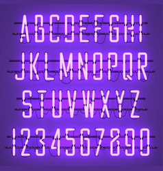 glowing purple neon casual script font vector image