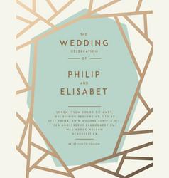 Golden wedding invitation template vector