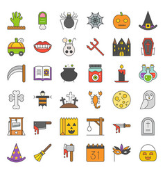halloween icon set element filled outline icon vector image