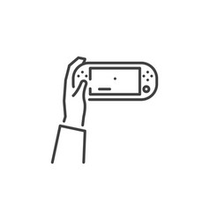 handheld game console in hand outline icon vector image