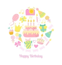 Happy Birthday circle icons vector