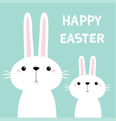 Happy easter two white bunny rabbit set cute vector