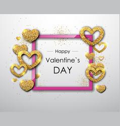 Happy valentines day poster golden sparkle lovehap vector