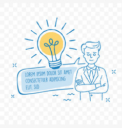 idea lightbulb and businessman doodle icon vector image