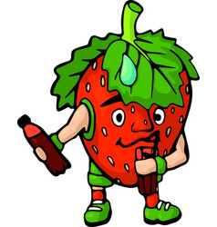 isolated cartoon happy strawberry with drink vector image