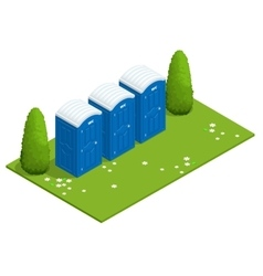 Isometric bio mobile toilets on grass blue bio vector