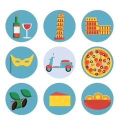 Italy flat icons set vector image