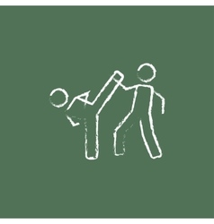 Karate fighters icon drawn in chalk vector image