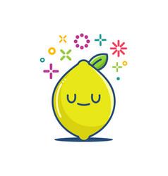 Kawaii lemon fruit emoticon cartoon vector