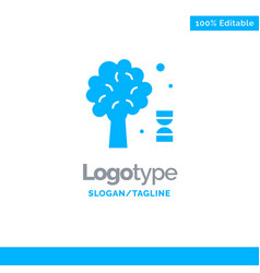 Knowledge dna science tree blue solid logo vector