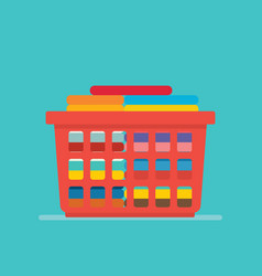 Laundry basket concept with tidy clothes stack vector