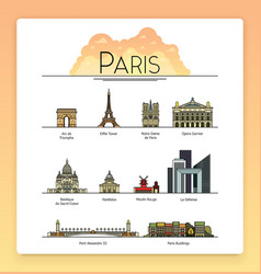 line art Paris France travel landmarks icon set vector image