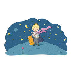 Little princea fairy tale about a boy a rose vector