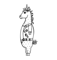 lovely hand-drawn unicorn-rocker vector image
