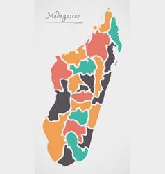 Madagascar map with states vector