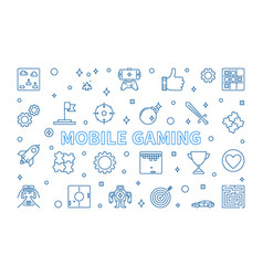 mobile gaming concept banner in outline vector image