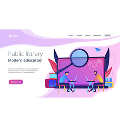 Modern education and public library landing page vector