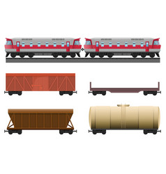 Modern train with various trailers for natural vector