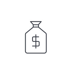 Money bag thin line icon linear symbol vector